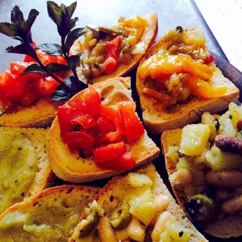 A selection of bruschettas flavored with saffron