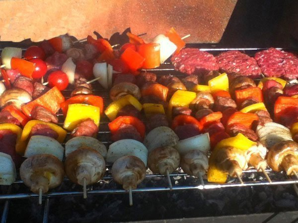 Organic skewer meat and veggies