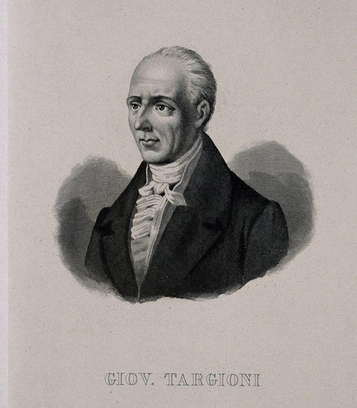 Giovanni Targioni-Tozzetti. Line engraving. Credit: Wellcome Library, London. Wellcome Images images@wellcome.ac.uk http://wellcomeimages.org Giovanni Targioni-Tozzetti. Line engraving. Published: - Copyrighted work available under Creative Commons Attribution only licence CC BY 4.0 http://creativecommons.org/licenses/by/4.0/