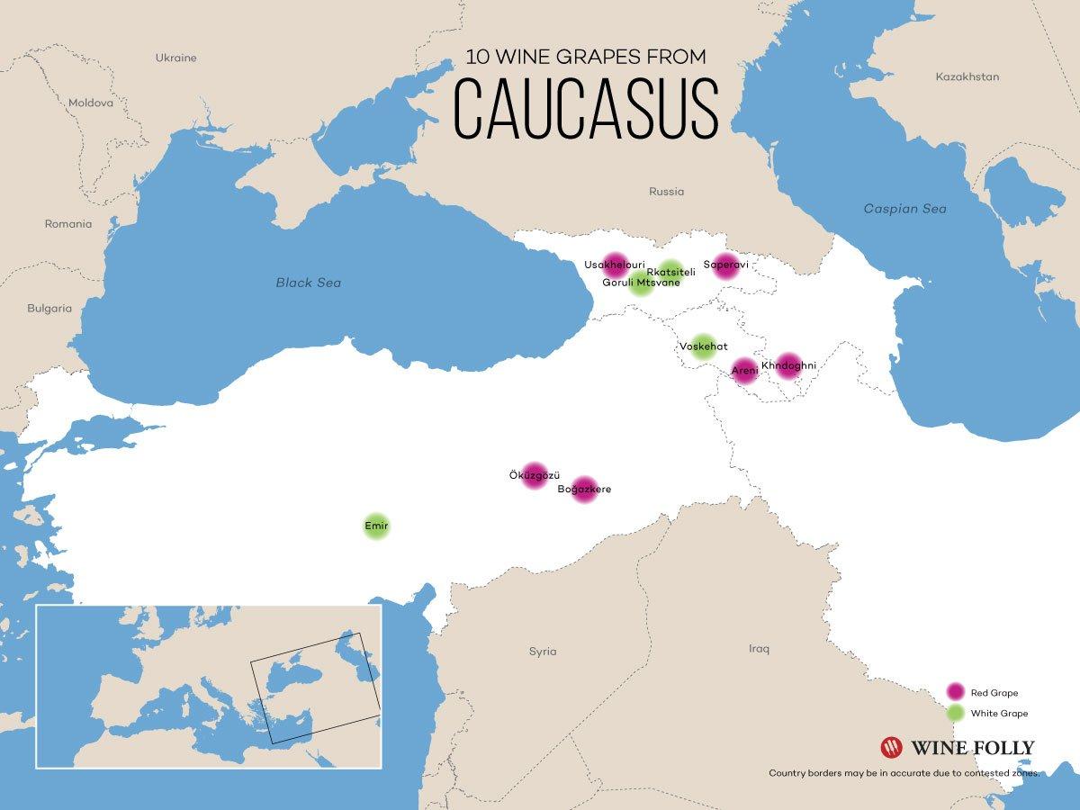 Caucasus wine map georgia armenia turkey - La Marronaia - amphora wine